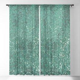 Sparkling EMERALD Lady Glitter #1 #shiny #decor #art #society6 Sheer Curtain