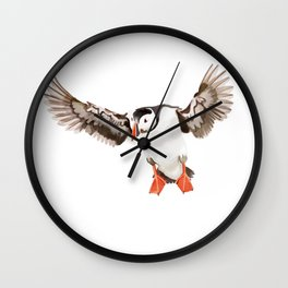 Flying puffin Wall Clock