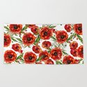 Poppy Pattern On White Background by lavieclaire