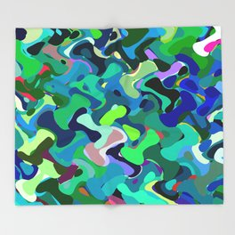 Deep underwater, abstract nautical print in blue shades Throw Blanket