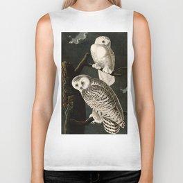 Snowy Owl Vintage Bird Illustration - Audubon Biker Tank