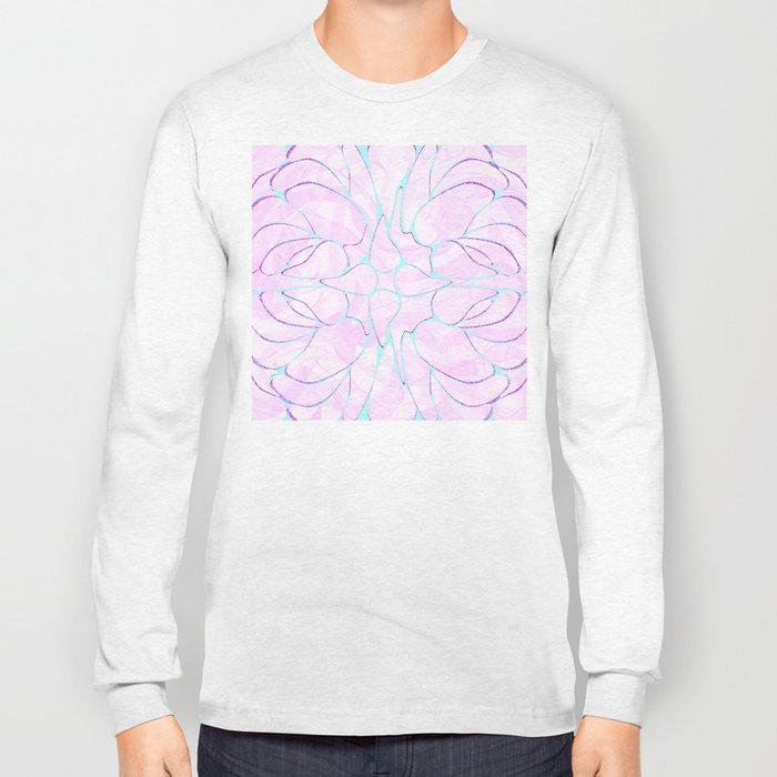 Abstract Mint Pink Flower Pattern Long Sleeve T-shirt