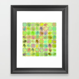 Multicolored hands pattern Framed Art Print