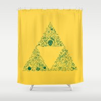 triforce Shower Curtains featuring Triforce by Constanza Morales