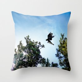 Yellow-Tailed Black Cockatoo Jumping Between Trees Throw Pillow