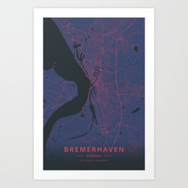 Bremerhaven, Germany - Neon Art Print