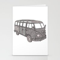 volkswagon Stationery Cards featuring Tangled VW Bus - side view by Cherry Creative Designs