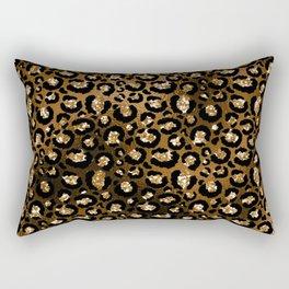 Glam Bronze and Black Faux Glitter Cheetah Print Rectangular Pillow