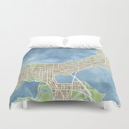City Map Madison Wisconsin watercolor  Duvet Cover
