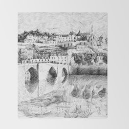 Terrasson village - France drawing Throw Blanket