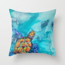 Rainbow Turtle Throw Pillow