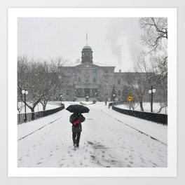 Walking under snow Art Print