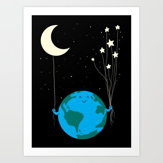 Under the moon and stars Art Print