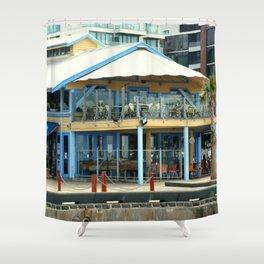 The blue Restaurant Shower Curtain