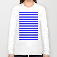 stripes Long Sleeve T-shirts featuring Horizontal Stripes (Blue/White) by 10813 Apparel