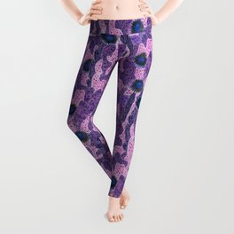 Cacti Camouflage, Abstract Floral Pattern,  Pink Violet Leggings
