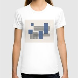 Stripes and Square Blue Composition - Abstract T-shirt