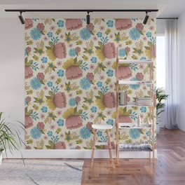 Bright Spring Folk Art Floral Pattern Wall Mural