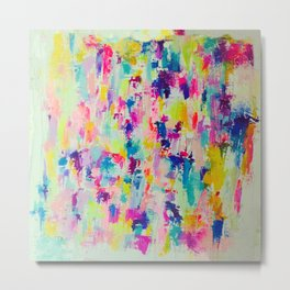 Bright, Neon, Colorful Abstract Painting  Metal Print