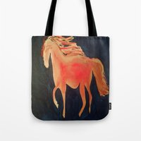 patriots Tote Bags featuring Red Navy Blue and Silver Acrylic Horse Painting by Melissa's Art