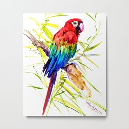 Parrot Scarlet Macaw, Tropical Birds, Jungle Red, Green Blue bright colored tropical artwork Metal Print