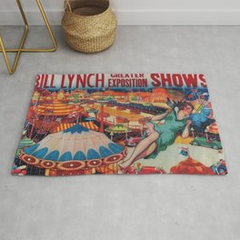 1946 Greater Exposition Traveling Circus Show Vintage Poster Rug