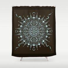 Aqua Leaf Star Mandala Shower Curtain