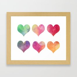 Hearts-colorful Framed Art Print