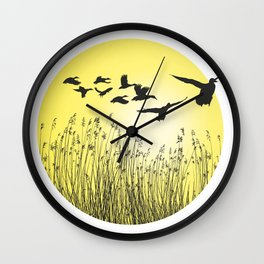 Mallards and reeds in the ring Wall Clock