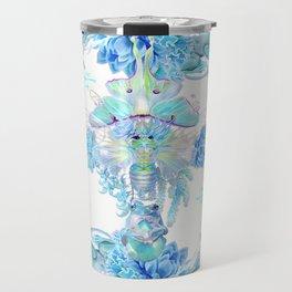 Aqua Chalcedony Luna Moth Succulent Floral Travel Mug