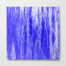 Bright texture of coated paper from blue flowing waves on a dark fabric. Metal Print