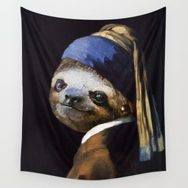 The Sloth with a Pearl Earring Wall Tapestry