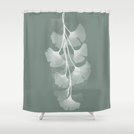 Abstract Watercolor Painting White Ginko Leaves - sage green 2 Shower Curtain