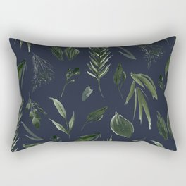 Winter Leaf Pattern 2 (Navy) Rectangular Pillow
