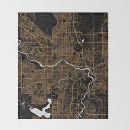 Calgary   Alberta   Canada - Minimalist City Map Throw Blanket