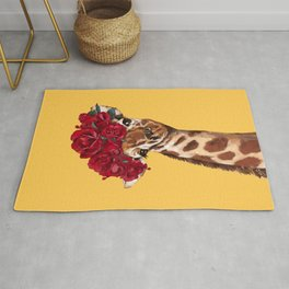 Giraffe with Rose Flower Crown in Yellow Rug