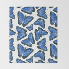 Blue morpho butterfly pattern design Throw Blanket