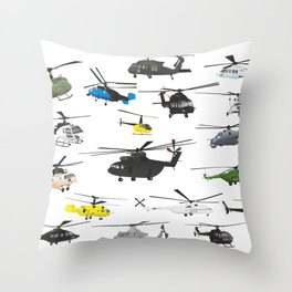 Multiple Helicopters Throw Pillow