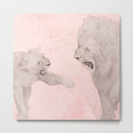 Lion and Lioness Dating Love Couple Walking Metal Print