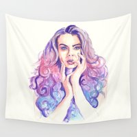 cara Wall Tapestries featuring Cara Delevingne by Binkfloyd