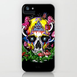 Magic Mushrooms Psychedelic Skull iPhone Case