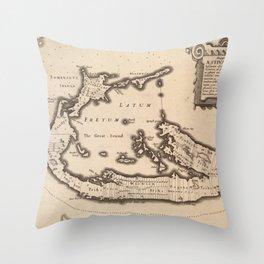 Vintage Map of Bermuda (1626) Throw Pillow