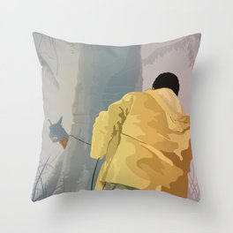 Jurassic Park - Dennis and the Dilophosaurus Throw Pillow