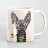 black cat Mugs featuring Black Cat by dogooder