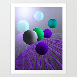 converging lines and balls -3- Art Print