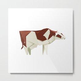 Origami Cow Metal Print