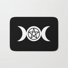 Goddess and Pentacle Symbols - White on Black Bath Mat