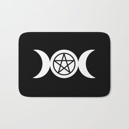 Goddess and Pentacle Symbols - White on Black Bath Mat