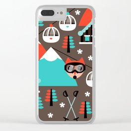 Winter Wonderland retro ski fox Clear iPhone Case