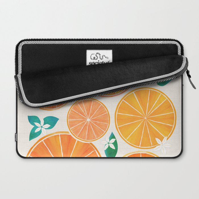 Orange Slices With Blossoms Laptop Sleeve